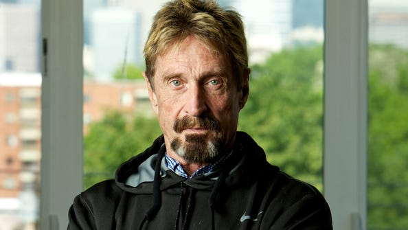 John McAfee at his home in Portland, Ore.