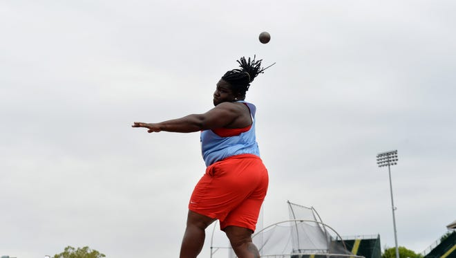 Ole Miss junior Raven Saunders throws during the U.S. Olympic Trials. She will compete in the Olympic Games in Rio de Janeiro on Aug. 12.