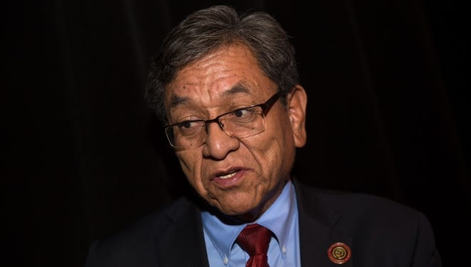 Navajo Nation President Russel Begaye speaks during an interview on Friday, Jan. 13, 2017 at the Phil L. Thomas Performing Arts Center in Shiprock, N.M. New Mexico Gov. Susana Martinez, Attorney General Hector Balderas and other top officials are angry with the federal government's decision not to pay claims related to a 2015 mine spill that tainted rivers in three western states.