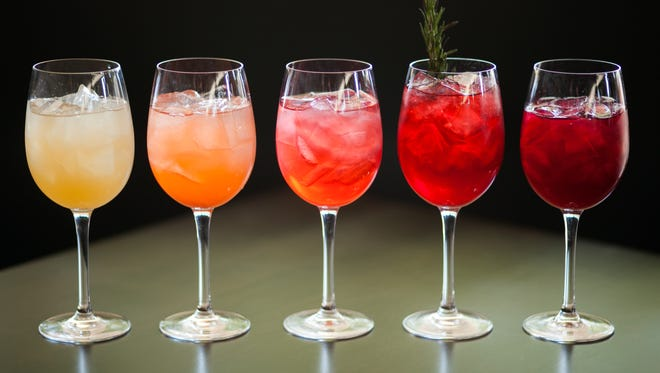 Wine coolers, from left, grapefruit ginger, strawberry rhubarb, raspberry lavender, blackberry rosemary and blueberry hibiscus.