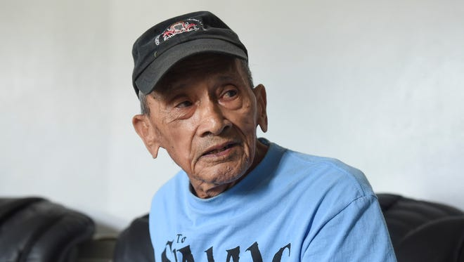 War survivor Juan Quintanilla Guzman, 84, discusses his time as a Sumay resident before World War II, at the Agat Senior Citizens Center on July 27, 2018.