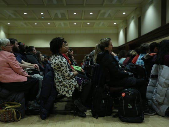 "More than 1,000 people listen to Ta-Nehisi Coates, national correspondent for The Atlantic and author of ""Between the World and Me"" speak in the Great Hall of the Memorial Union at Iowa State University on Monday, Jan. 30, 2016, in Ames. Coates' lecture was the keynote address of the Martin Luther King Jr. Legacy Series at ISU."
