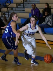 Hammonton's Dominique Minerva tries to get around a Williamstown defender during a 46-28 setback on Jan. 26.