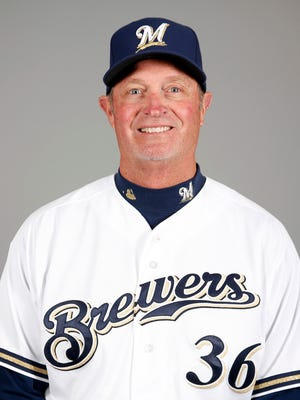 Jerry Narron, shown in 2015 when the bench coach for the Milwaukee Brewers, has been hired as the manager of the Reno Aces.