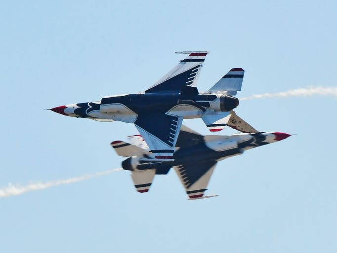 The USAF Thunderbirds performing Saturday at the Melbourne