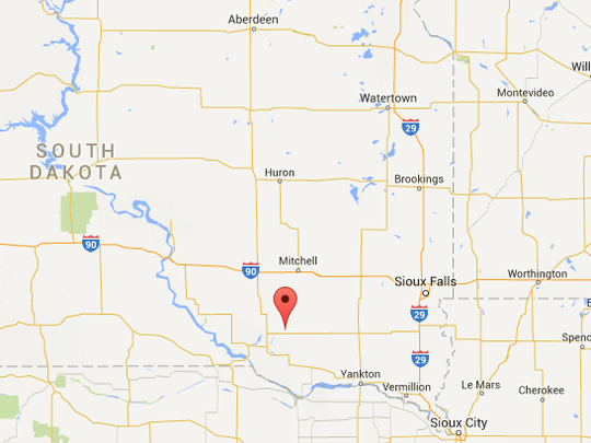 Delmont is nearly 40 miles south of Mitchell