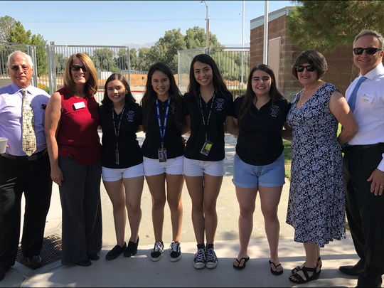 Shadow Hills High School students at a 2016-2017 school year TREC are flanked by Desert Sands Unified School District School Board members Gary Tomak, Wendy Jonathan, Linda Porras, and Superintendent Scott Bailey.