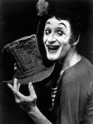 """Marcel Marceau performed as Bip The Clown and considered mime """"the art of silence""""."""