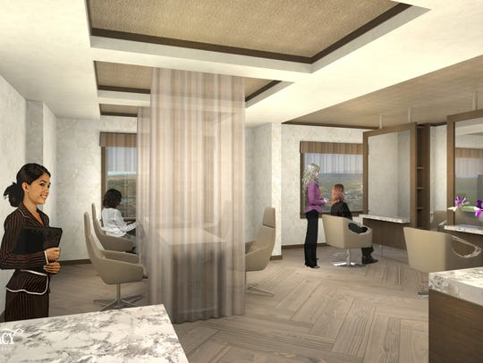 A rendering of the salon at the Spa at Silver Legacy