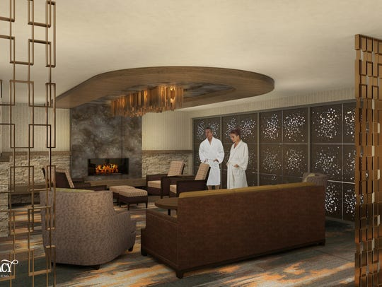 A rendering of the co-ed relaxation lounge at the Spa