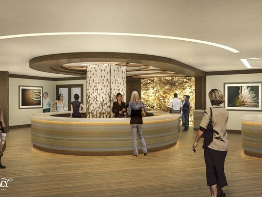 A rendering of the reception area at the Spa at Silver