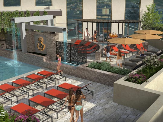 A rendering of the 8,000-square-foot pool area at the Spa at Silver Legacy set to debut in fall 2018 at the Silver Legacy Resort Casino in downtown Reno.