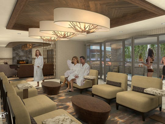 A rendering of the co-ed relaxation lounge off the