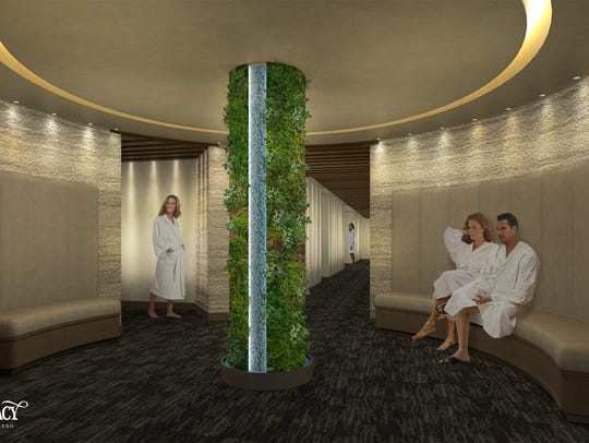 A waiting area to the treatment rooms at the Spa at