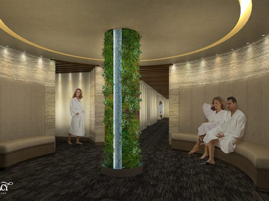 A waiting area to the treatment rooms at the Spa at Silver Legacy set to debut in fall 2018 at the Silver Legacy Resort Casino in downtown Reno.