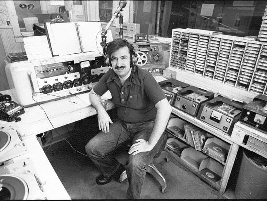 Frank Todd working in a radio station in 1977.
