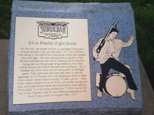 The roadside marker showing where Elvis Presley broke