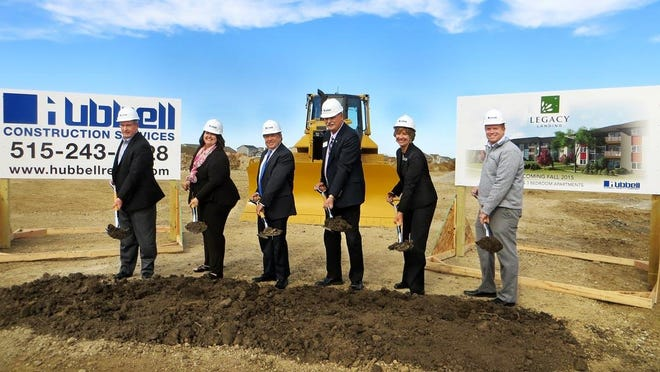 Bondurant's new city administrator, Marketa Oliver, is pictured second from the left. The picture was taken as Hubbell Realty Co. broke ground Nov. 5 on Legacy Landing in Norwalk. This new $11.6 million, 120-unit multifamily community is located at 2701 Cedar St. Pictured are: Steve Niebuhr, senior vice president of Hubbell Realty; Marketa Oliver, Norwalk city manager; Rick Tollakson, Hubbell Realty president and CEO; Ed Kuhl, Norwalk Chamber of Commerce member; Kris Saddoris, vice president of development for Hubbell Realty; and Josh Heggen, Norwalk community development director. They celebrate with the ceremonial turning of the dirt at Legacy Landing.