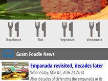"A screenshot of the new ""guamfoodie"" app, shown in the ""ribbon"" view — one of three display preferences."