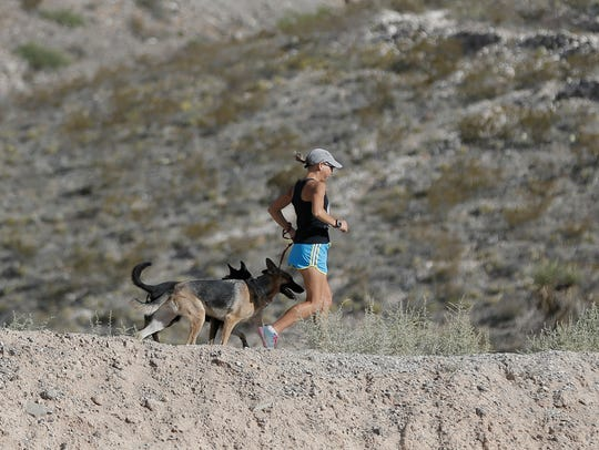 Constance Wannamaker runs in the Franklin Mountains