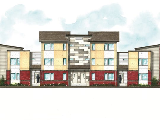 A rendering of the Renaissance affordable housing project