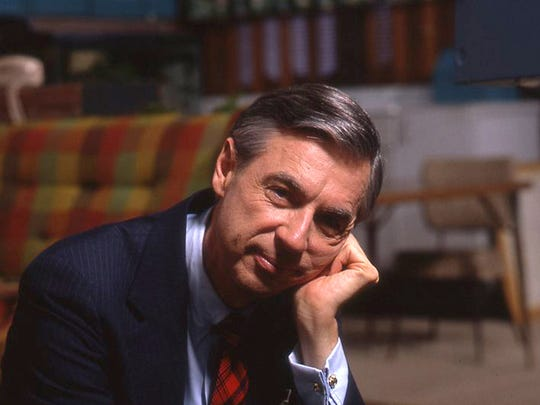 "Fred Rogers on the set of his show ""Mr. Rogers Neighborhood."""