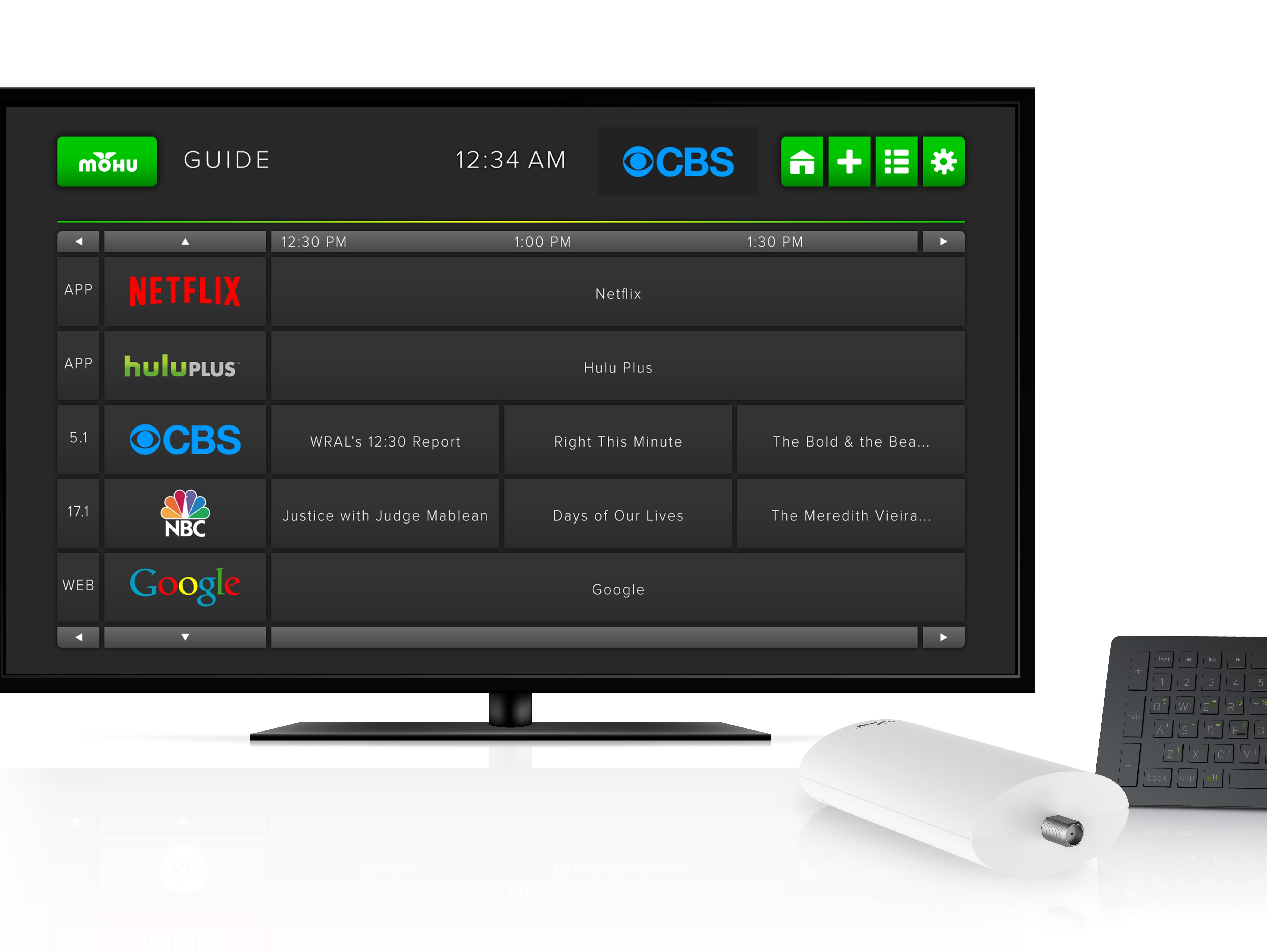Mohu Channels is a device that brings together your Over-the-Air (OTA) broadcast TV channels, streaming apps and Web content in one simple viewing experience. Shown here is the on-screen guide, device and remote control.