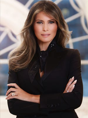 The official portrait of first lady Melania Trump released by the White House on April 3, 2017.