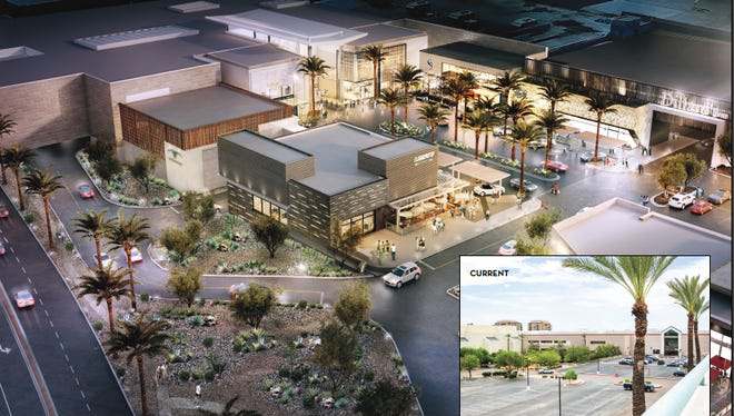 A rendering of an aerial view of a renovated Scottsdale Fashion Square.