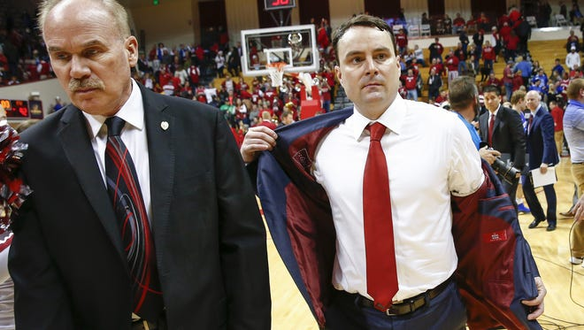 Indiana Hoosiers head coach Archie Miller walks off the court following the loss to the Fort Wayne Mastodons at Simon Skjodt Assembly Hall on December 18, 2017 in Bloomington, Indiana. (Michael Hickey for The Star)