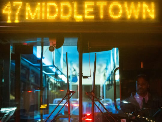 Bus driver Demetrius Tiller arrives at the 9th and Market stop with no riders as DART lauches a new route Monday from Wilmington to Middletown, specifically tailored for Amazon employees.