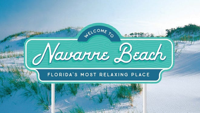 This image shows what the new signs at the Navarre Beach  causeway entrance will look like.
