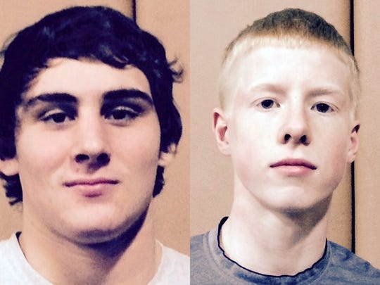 Elmira wrestlers Tommy Mackay, left, and Noah Carpenter will compete at the state championship meet this weekend in Albany.