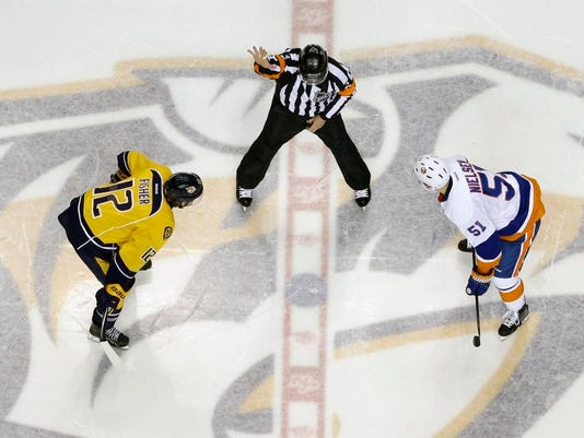 Wes McCauley, Mike Fisher, Frans Nielsen
