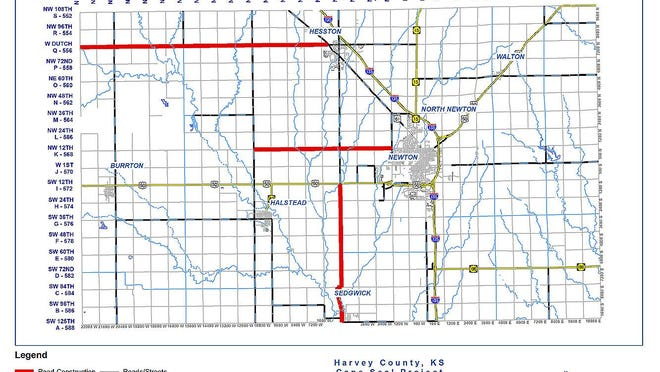 The Harvey County road projects are shown in red.
