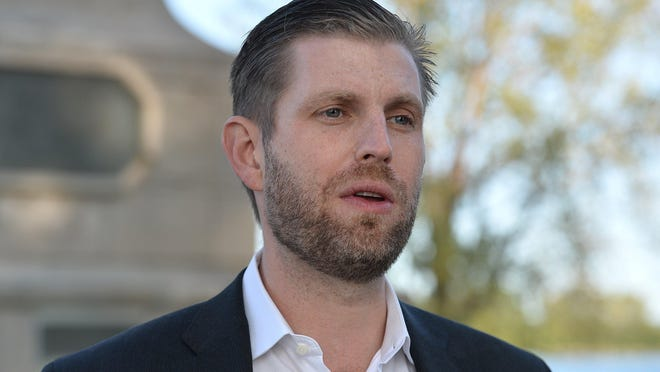 Eric Trump is shown, Sept. 21, 2020, at Perry Monument at Presque Isle State Park, about a half-hour before he was scheduled to speak to a crowd of more than 250 at a rally in support of his father, President Donald Trump, outside the Bayfront Convention Center in Erie.