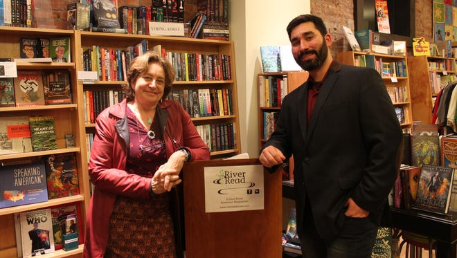 Lis Rosenberg and Dante Di Stefano read their writing during a reading at RiverRead Books on Nov. 5.