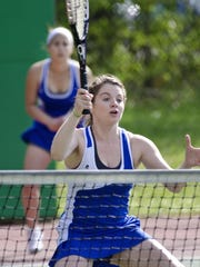Colchester's Shannon French (right) and Ashley Wells, shown here in a doubles match last season, will both moves to the singles ranks for the Colchester girls tennis team this year.