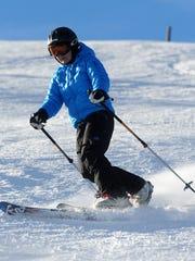 Bonnie Noble telemark skis at Showdown Ski Area.