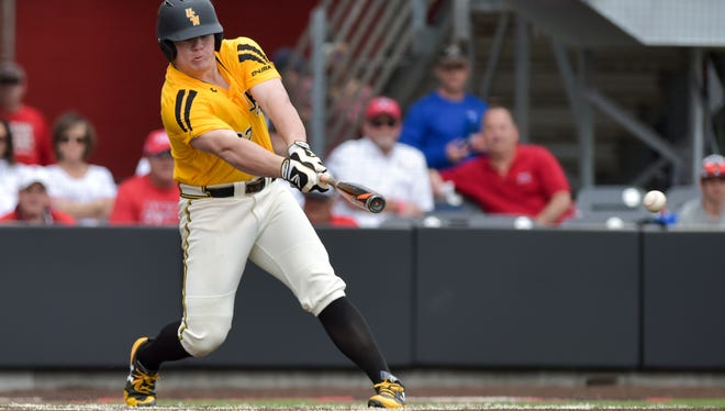 Southern Miss' Taylor Braley takes a swing during a game against Louisiana-Lafayette earlier this season. The Golden Eagles' weekend series against Marshall will now begin with a doubleheader at 4 p.m. Friday, followed by the final game at 2 p.m. on Saturday.