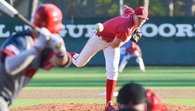 Junior Nick Lee, shown throwing here against South Alabama last year, is slated to open the 2018 season as UL's Saturday starter.