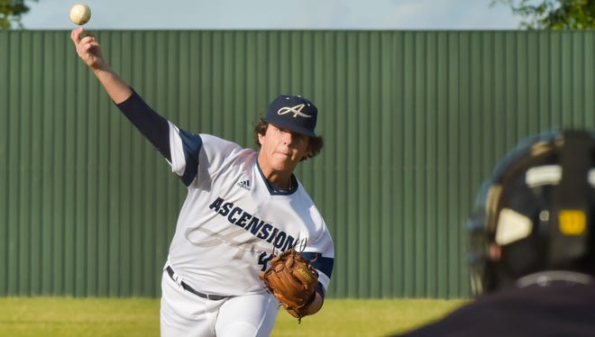Starting pitcher Sean Michael Brady as Ascension Episcopal takes on Covenant Christian. Thursday, May 4, 2017.