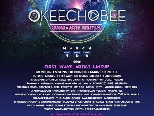 The debut lineup fro Okeechobee.