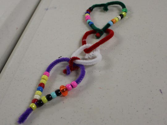 A hanging hearts craft was this month's Creative Craft's for Kids at the Hammonton Branch of the Atlantic County Library System.