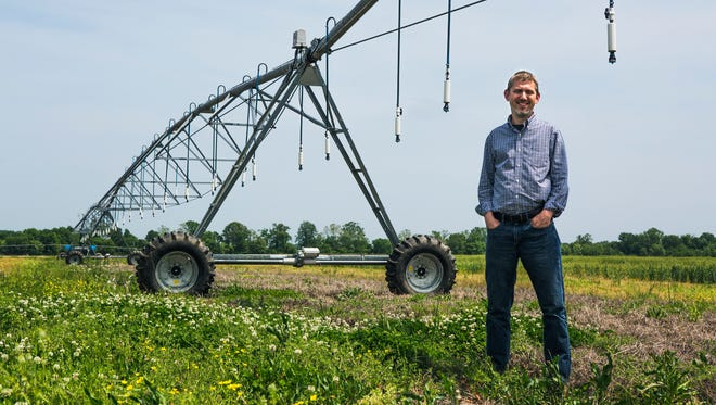 May 3, 2018 - Pete Nelson, president, AgLaunch, stands in a field at the AgriCenter on Thursday. Nelson and others are sponsors of a farm technology conference where they are attempting to create a new industry in the city by positioning Memphis as a hotbed for crop and food innovation.