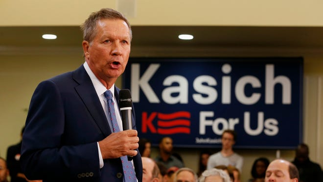 Republican presidential candidate, Ohio Gov. John Kasich speaks during a town hall meeting at the University of Richmond Monday.