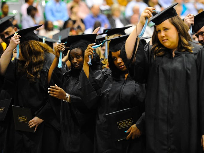Graduates turn their tassles to signify graduation at the Wicomico County Youth and Civic Center on Wednesday evening for WorWic Community College Graduation.