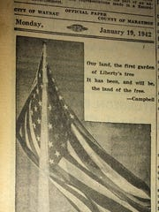 An American flag illustrated an editorial about wartime sacrifices in the Wausau Daily Record-Herald on Jan. 19, 1942.