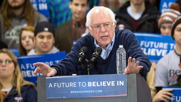 Sen. Bernie Sanders speaks during a campaign stop in