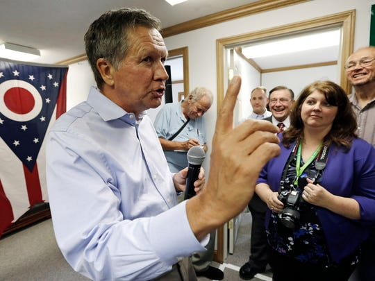Ohio Gov. John Kasich speaks during a rally at the